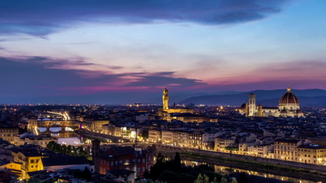 Florence Italy HD Time lapse sunset topview