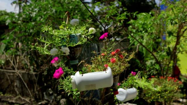 Flower pots made of plastic bottles