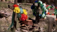 Flowers decorate wooden crosses. Available in HD.