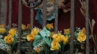 CU TU Flowers in Shrine of Virgin Mary and Baby Jesus / Venice, Italy