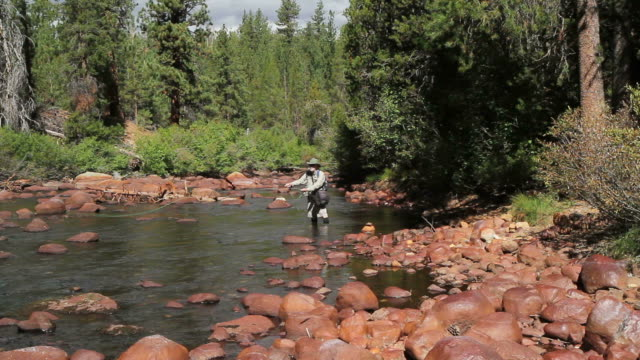 Fly Fisherman Casting Fluss