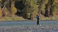 A fly fisherman wades and fishes on the Snake River in Idaho on a sunny, fall day