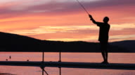 Fly Fishing Fisherman Silhouette on Lake at Sunset