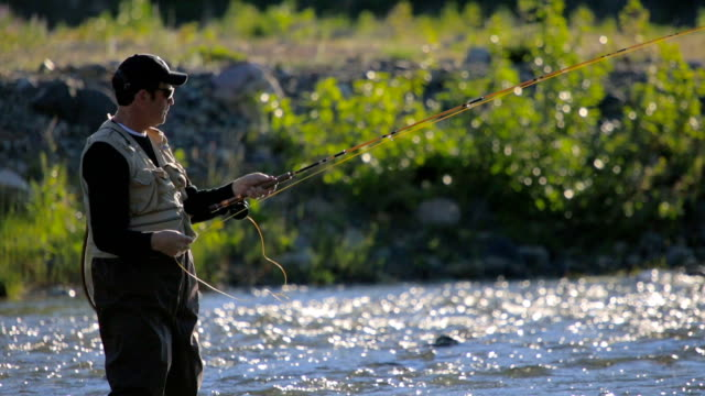 Fly Fishing in River, Close-up