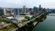 Fly Over Aerial Austin Texas Skyline Cityscape Capital Cities Over Town Lake December 2015