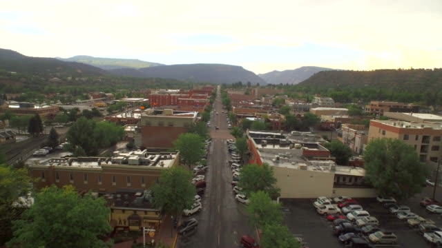 Fly over Durango Colorado downtown