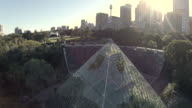fly over glass pyrimid / green house