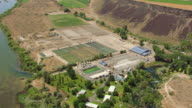 WS AERIAL Fly over Hagerman Hatchery / Idaho, United States