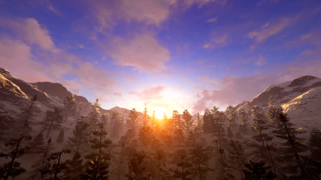 Fly over snowy mountain ridge