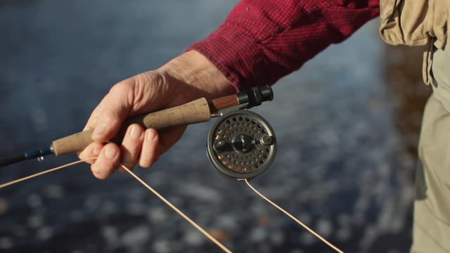 CU Fly-fisherman's hands stripping line while fishing in river / The Forks, Maine, USA