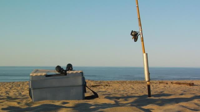 MS, Fly-fishing box and rod on beach, North Truro, Massachusetts, USA