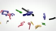 Volo 3D note musicali colorate su bianco (Full HD