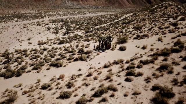 Vliegen boven dorre woestijn landschap in Californië