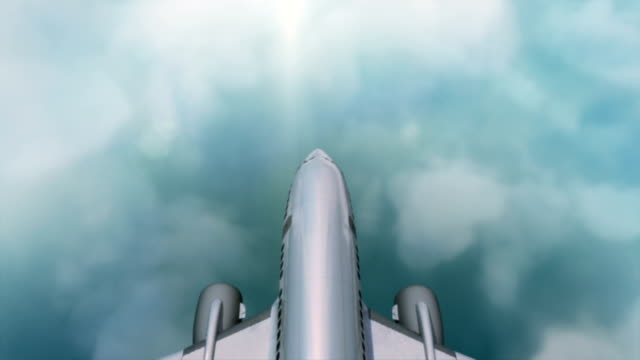 Flying Aircraft above the beautiful cloudy sky