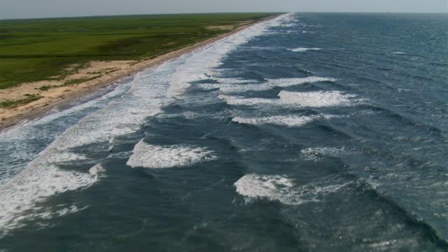 Flying along deserted Gulf coastline in Texas