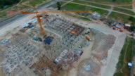 Flying Around Construction Site with Drone, Aerial View