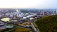 Flying around Petroleum Chemical Refinery Plant with Complex Pipeline, Aerial video