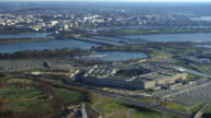 Flying by the Pentagon with Columbia Island Marina behind; Potomac River and Washington DC in distance. Shot in 2011.