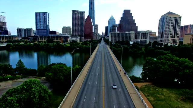 Flying Directly Towards Texas State Capitol Building Over Congress Bridge Austin Texas Landmark View Over Town Lake
