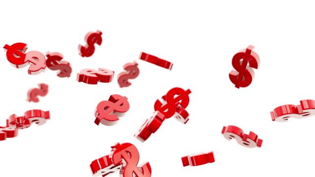 Flying Dollar Symbols Animation - Red (Full HD)