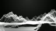 Flying into abstract particle mountain landscape. Wave surface of particles. 3d illustration background