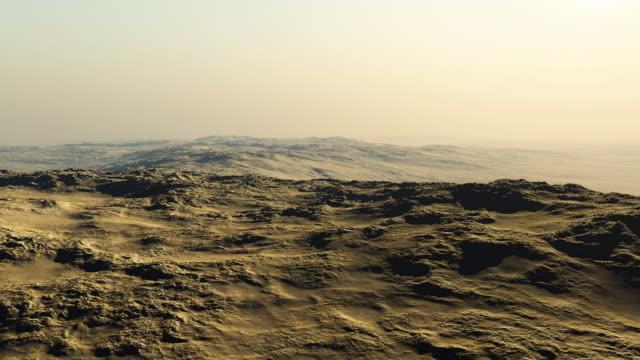 flying over a rocky desert
