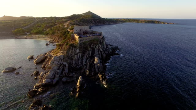 AERIAL: Flying over ancient costal fortress