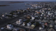 Flying over densely populated Long Beach Island, New Jersey at dusk. Shot in November 2011.