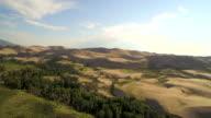 Flying over forrest tilt up to reveal The Great Sand Dunes