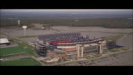AERIAL Flying over Gillette Stadium / Boston, Massachusetts, United States