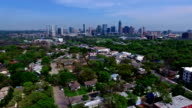 Flying Over Green Spring Time ATX 2016 during SXSW Skyline over Austin , TX Barton Creek Greenbelt Area Aerial Drone Fly Over Austin Texas 2016 Greenbelt Springtime Gorgeous Capital City View from South Lamar Blvd with Skyline Cityscape Background