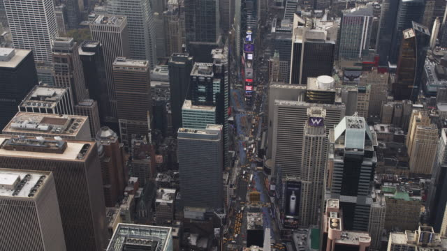 Flying over Midtown Manhattan, looking down at Times Square. Shot in 2011.