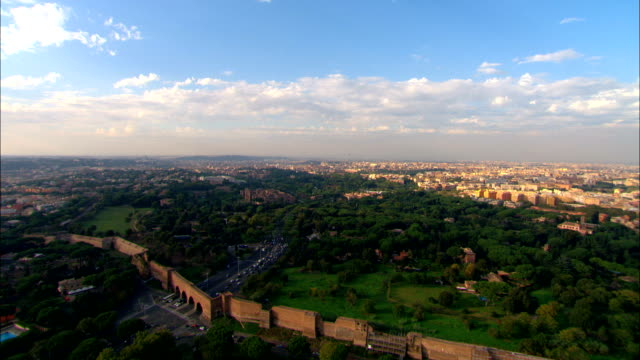 Flying over Rome to the Coliseum - Aerial View - Latium, Rome, Italy