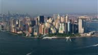 Flying over Upper New York Bay toward Battery Park. Shot in 2003.