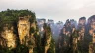 Flying over Zhangjiajie national park in China