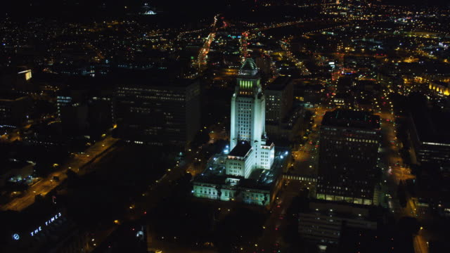 Flying past Los Angeles City Hall at night. Shot in October 2010.