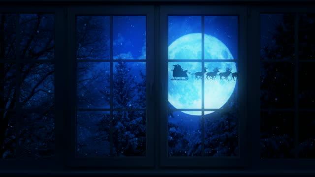 Flying Santa Behind The Window | Loopable