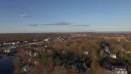 Flyover coastal town, 4K