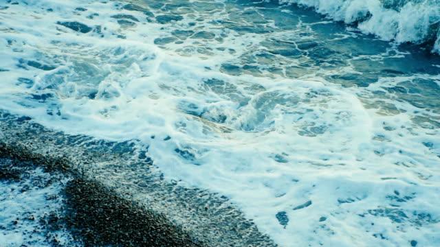 foaming waves on the rocky seashore