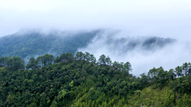 Fog rolls across flowing over Mountains,Time lapse