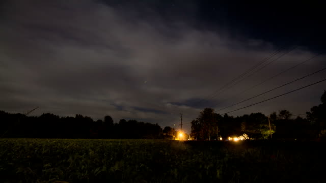 Foggy Fall Moon - Cars Driving at Night - Timelapse Video