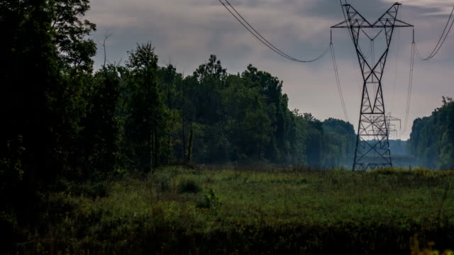 Foggy Fall Moon - High Tension Power Lines- Timelapse Video