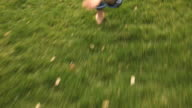 POV Following barefoot girl (6-7) running on grass, low section, Flagstaff, Arizona, USA