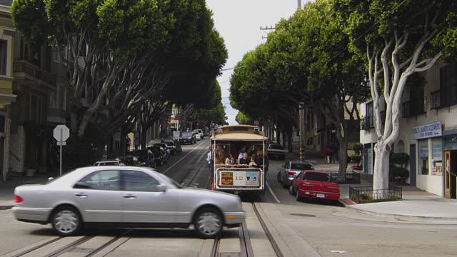 T/L POV Following cable car in downtown San Francisco, California, USA