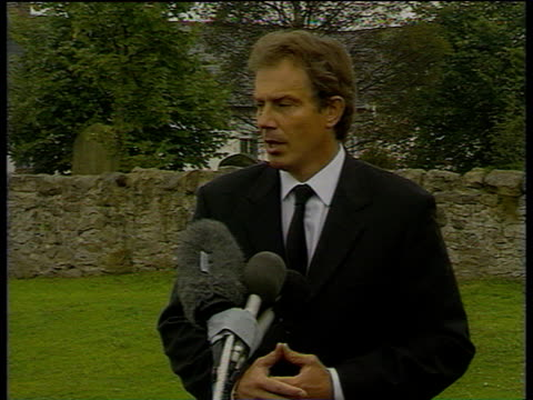 Following death of Diana Princess of Wales Prime Minister Tony Blair talks to press about joy and comfort she brought to British public describing...