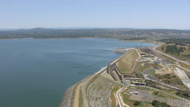 WS AERIAL POV Folsom dam on Folsom lake of Northern California, California