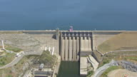 WS AERIAL POV Folsom Dam on the American River of Northern California, California