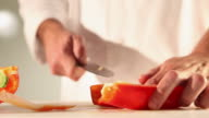 MS Food chef chopping red pepper / Sao Paulo, Brazil