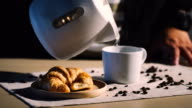 Food & Drink Cinemagraphs : Pouring hot water into cup of coffee.