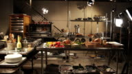 WS, ZI, CU, Food in commercial kitchen with lighting equipment